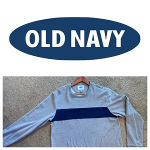 Gray and Navy Blue stripe pullover crew neck